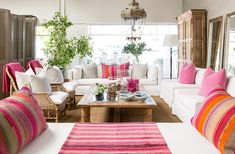 Interior designer Yvonne O'Brien opened a showroom called The Private House Company where she sources furnishings from all over the world as well as Living Room Art, Living Spaces, Beach House Colors, Showroom, Magical Room, Interior Styling, Interior Design, Pink Home Decor, Pink Houses