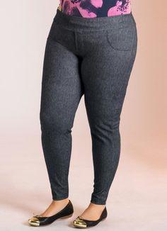 Calça legging cotton jeans Plus Size