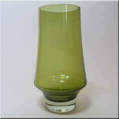 Riihimäen Lasi Oy / Riihimaki olive green glass vase by Tamara Aladin, design number 1374.