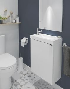 GoodHome Imandra Single door White Cloakroom vanity basin unit - B&Q for all your home and garden supplies and advice on all the latest DIY trends Toilet Vanity Unit, Cloakroom Vanity Unit, Cloakroom Basin, Small Downstairs Toilet, Small Toilet Room, Downstairs Bathroom, Small Toilet Design, Glass Bathroom, Space Saving Bathroom