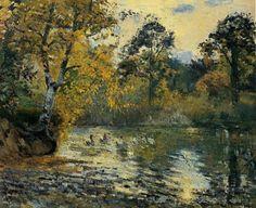 camille pizarro art | ... Pond at Montfoucault 1 :: Camille Pissarro :: Allpaintings Art Portal