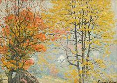 John J Enneking, American Impressionist, Autumn Glory, oil on canvas board, 10 x 13 3/4