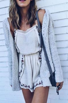 #spring #outfits  Ivory Embroidered Playsuit + Grey Knit Cardigan