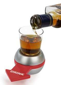 Spin the Shot - like spin the bottle, but you know, drunker. Ash- on a scale of 1 to Lindsay Lohan how bad of an idea would it be to carry this in our purses at all times? LOL Liqueur, Drip Coffee Maker, Espresso, Barware, Kitchen Appliances, Stove, Glass, Spin, Espresso Coffee
