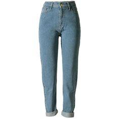 Betusline women Fashion Loose High Waist Straight Jeans Denim Pants... (€21) ❤ liked on Polyvore featuring jeans, pants, bottoms, calça, boyfriend fit jeans, straight-leg jeans, wide-leg jeans, blue denim jeans and blue boyfriend jeans