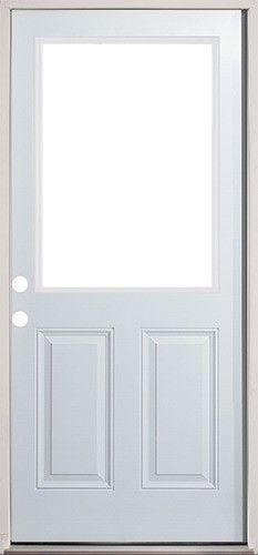 Reliabilt Half Lite Prehung Inswing Steel Entry Door Common 32 In X 80 In Actual X