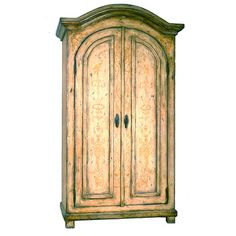 French Antiqued Scroll Armoire