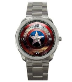 Captain America Watch Unisex Dress Analog Quartz Wrist Watch with Stainless Steel Band ON SALE NOW - SAVE OVER 20% - SUPPLIES LIMITED