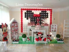 Decoração Provençal - Minnie Vermelha - com painel de balões