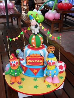 Baby Animals and Clowns Circus Cake (Paxton)
