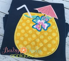 Pineapple Tropical Drink Applique - Sit back and enjoy a tropical drink. This fun design looks great on any beach project.