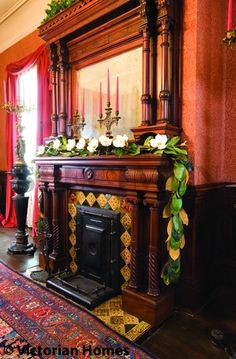 How the Victorians Celebrated--and Decorated for--Christmas - Victorian Homes Christmas Staircase, Christmas Fireplace, Christmas Mantels, Christmas Past, Cozy Christmas, Christmas Colors, Christmas Decorations, Fireplace Mantles, Fireplaces
