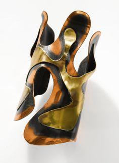 Art Smith 'Lava' cuff, patinated copper and brass