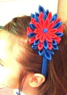 2 Girls blue red headband bow rhinestone football Ole Miss SEC sorority Rebels