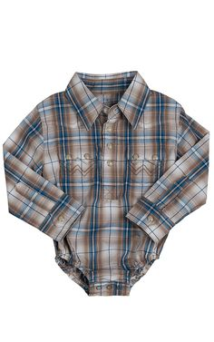 Wrangler® All Around Baby™ Boys Brown & Blue Plaid Long Sleeve Western Onesie