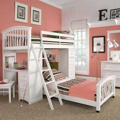 Cute girls bunk bed. Or change the colors for a boys room.