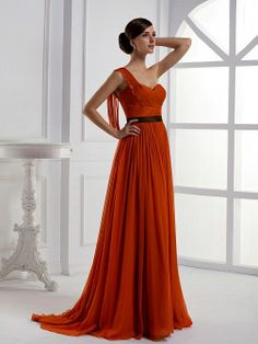 One Shoulder A Line sheer Chiffon Bridesmaid Dress