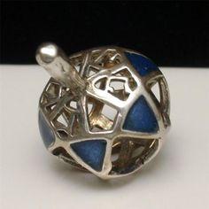 Dreidel Sterling Silver Enamel Chanukah Hannukah