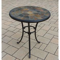 Oakland Living Corporation Hometown Natural Stone And Metal 24 Inch Round Bistro  Table