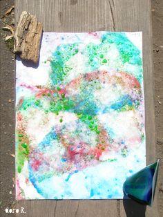 Malen mit Kindern: Seifenblasen auf Papier -