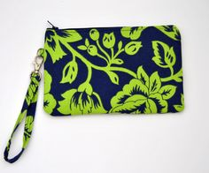 Navy Blue and Lime green wristlet / clutch / by GreyFoxTextiles, $16.00
