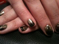 Brisa Lite Smoothing Gel with Blackpool Shellac & gold glitter additive