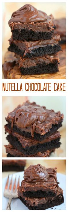 One of the easiest cake to make, this Nutella chocolate cake is so rich and delicious you won't want to share. I absolutely love Nutella! It& like better than peanut butter! Nutella Recipes, Chocolate Recipes, Chocolate Smoothies, Chocolate Shakeology, Cooking Chocolate, Delicious Chocolate, Baking Recipes, Cake Recipes, Dessert Recipes