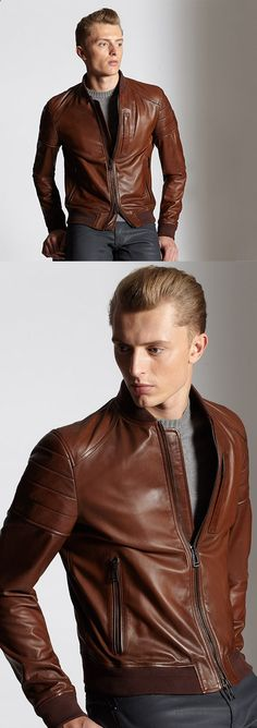 Belstaff's best in class leather goods are perfect for this time of year. Get the 'Stockdale' Blouson Baseball jacket for a timeless jacket that will age beautifully. #Menswear