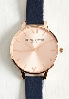 Undisputed Class Watch in Navy & Rose Gold - Big. Become known as the arbiter of good taste by making this Olivia Burton Big Dial watch your constant companion! #blue #modcloth