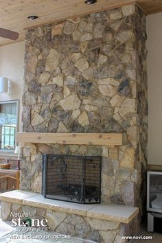 New England Fieldstone - Fireplace Natural Stone Veneer, Natural Stones, Cabin Fireplace, Stone Walls, New House Plans, Backyard Ideas, Great Rooms, New England, Basement