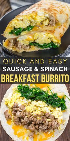 Sausage and Spinach Breakfast Burrito This quick and easy Breakfast Burrito is loaded with spinach, sausage, eggs and cheese! Can be made very easily gluten free and keto! Quick Healthy Breakfast, Best Breakfast Recipes, Brunch Recipes, Healthy Breakfast Burritos, Breakfast Spinach, Healthy Breakfasts, Breakfast Burrito Recipes, Dinner Recipes, Breakfast Ideas