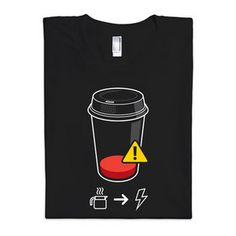 "Think Geek: $20 ""Glennz 'Refill Required' Tee"" ""WARNING: Human Fuel Levels Dangerously Low"""