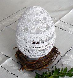 Średnie jajo koronkowe - BerGol - Dekoracje wielkanocne