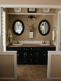 For master bathroom redo--- Black cabinets, warm beige walls and counter, white millwork. Bad Inspiration, Bathroom Inspiration, Mirror Inspiration, Creative Inspiration, Master Bathroom, Tan Bathroom, Bathroom Ideas, Bathroom Layout, Bathroom Cabinets