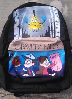Gravity Falls Painted Backpack by classykatelyn on Etsy