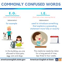 Commonly confused words: E.G. vs I.E.