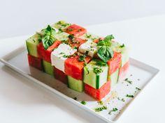 Cubed Watermelon, Cucumber and Feta Salad