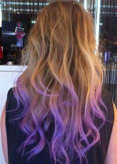 Dip dye looks really good. purple hair tips, blue hair, pastel hair tips, pastel ombre hair, purple Pastel Hair Tips, Purple Hair Tips, Dyed Hair Pastel, Hair Color Purple, Blue Hair, White Hair, Hair Colors, Neon Hair, Violet Hair
