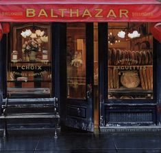 A luscious day in Soho: Entrance to Balthazar restaurant in Spring street New york