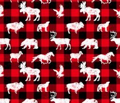 Cabin Buffalo Plaid Red Black fabric by wickedrefined on Spoonflower - custom fabric, lots of animals: bison, moose, wolf, elk, eagle, bear, wild mustang, big horn sheep