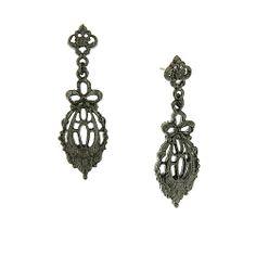 Downton Abbey Jet Belle Epoch Bow Drop Filigree Earrings, $19.00