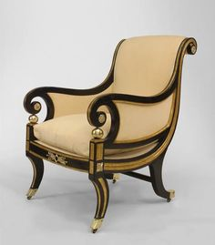 English Regency seating chair/club chair ebonized home decor ideas, home furniture, luxury furniture, high end furniture, design ideas, interior design ideas. For more inspirations: www.bocadolobo.com