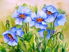 Blue Poppies Meltem Kilic, painting by artist Meltem Kilic