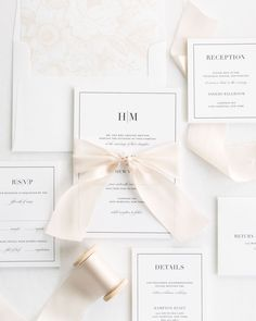 Complete Wedding Invitations with Champagne Ribbon and Enclosures