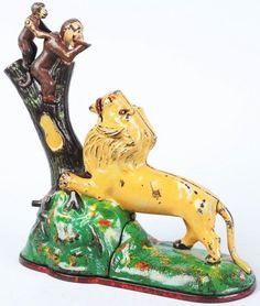 Cast Iron Lion  Two Monkeys Mechanical Bank.