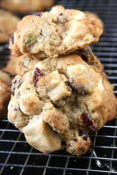 Chewy, Gooey White Chocolate Chunk, Cranberry, Salted Pistachio Drop Cookies with a hint of cinnamon and orange