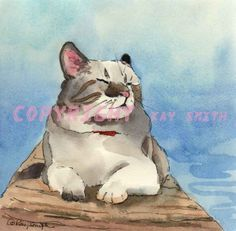 Contented Cat, painting by artist Kay Smith