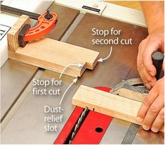 This simple stepped block easily establishes the two sides of the dado to accurate width. Then just drop the blade slightly and hog out the middle with the saw blade. Smooth the bottom with your router plane.