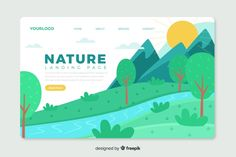 Corporative landing page web template with nature theme design Free Vector Pop Design, Flat Design, Graphic Design, Web Layout, Layout Design, Leaflet Design, Landing Page Design, Keynote, Vector Free