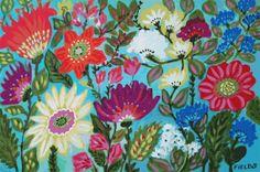 Flowers Art Print Morning Glory Garden - Print by Karen Fields 13 x 19 Floral Happy Inspirational